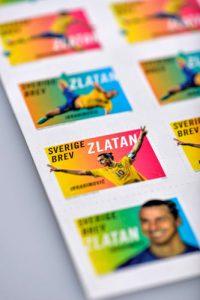 Fünf Zlatan Ibrahimovic Briefmarken-Motive zeigen den elffachen schwedischen Fußballer des Jahres