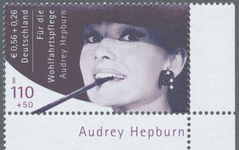Nie veröffentlicht - und doch sind einige wenige Exemplare der berühmten Audrey Hepburn Briefmarke im Umlauf - das macht sie so heiß begehrt! (© Auktionshaus Christoph Gärtner)