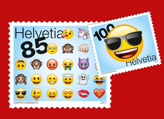 Neben den verschiedensten Smileys befinden sich auch die Darstellungen von Menschen, Tieren, Natur, Essen und Trinken, Sportarten, Flaggen und vieles mehr unter den Emojis. Die Schweizer Post verewigt einige von ihnen auf zwei aktuellen Emoji Briefmarken. (© Schweizer Post, © Kaspar Eigensatz)