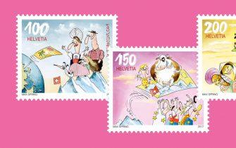 Die aktive Schweizer Postcrosserin Cornelia Graf initiierte die Ausgabe der drei illustrierten Postcrossing Briefmarken. (© Schweizer Post, © Max Spring)