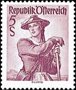 Dirndl aus dem Zillertal auf Briefmarke