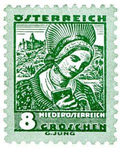 Briefmarke aus der ersten Trachtenserie in den 1930ern