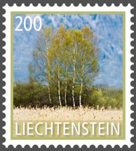 Baum: Birke auf Briefmarke