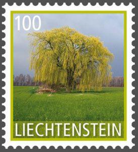 Baum: Trauerweide auf Briefmarke