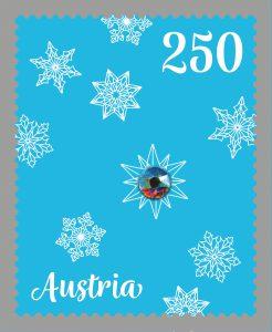 """Sondermarke """"Weihnachtsornamente veredelt mit Swarovski Kristall (© Österreichische Post)"""