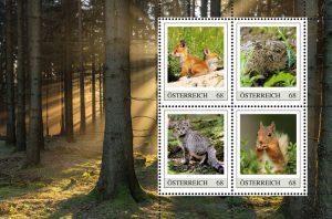 Junge Wildtiere auf Briefmarken
