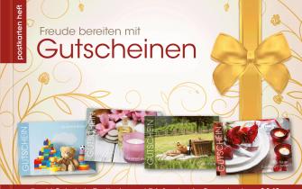 Heft mit Gutschein-Postkarten