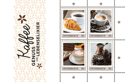 Kaffee auf Briefmarken