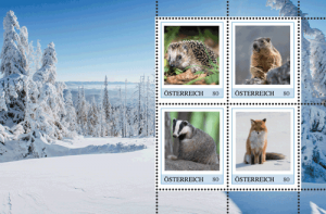 Wildtiere im Winter Briefmarken