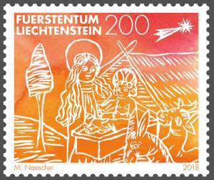 Briefmarke Weihnachten Liechtenstein