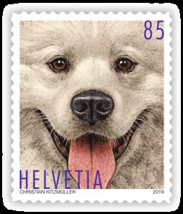Hunde-Briefmarke aus der Schweiz
