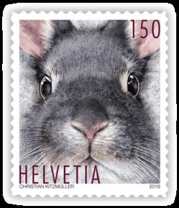 Kaninchen-Briefmarke aus der Schweiz
