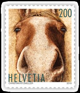 Pferde-Briefmarke aus der Schweiz