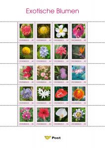Exotische Blumen auf Briefmarken