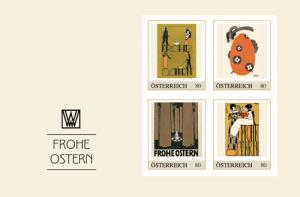 Ostermotive der Wiener Werkstätte auf Briefmarken