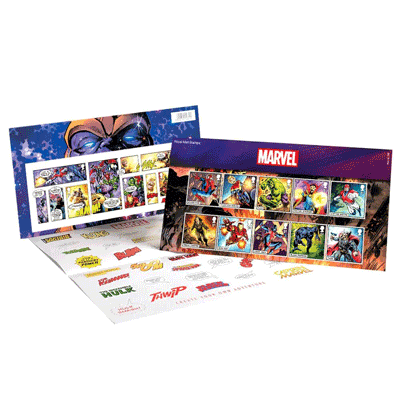Superhelden von Marvel als Briefmarken-Set