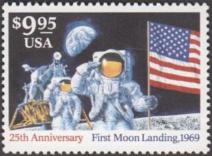 Briefmarke zum Jubiläum 25 Jahre Mondlandung
