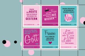 Witzige Frauensprüche auf Briefmarken