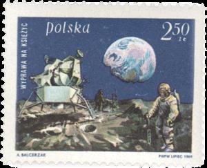 Eine polnische Briefmarke zur Mondlandung