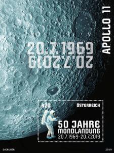 Die österreichische Sondermarke zum Jubiläum der Mondlandung