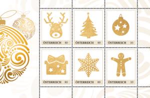 Goldene Weihnachtsbriefmarken für Ihre Weihnachtspost