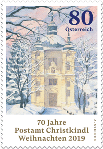 Die Briefmarke zeigt das Aquarell von Bischof Stecher