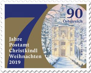 Briefmarke zum 70-Jahr-Jubiläum des Postamt Christkindl