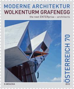 Moderne Architektur auf Briefmarke, 2012