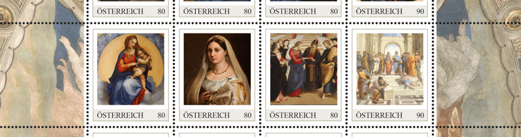 Einige Briefmarken der Markenedition Raffael