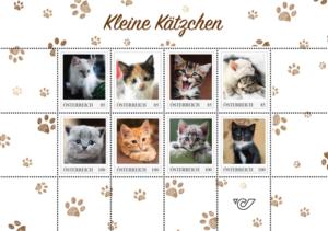 Kleine Kätzchen auf Briefmarken