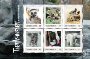 Briefmarken mit Tierkindern aus Schönbrunn